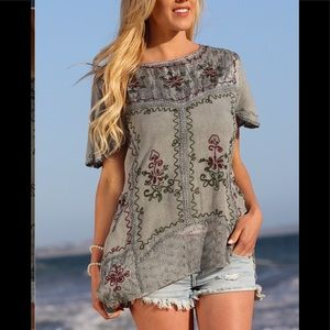NEW Gray Floral Embroidered Tunic One Size 0-12